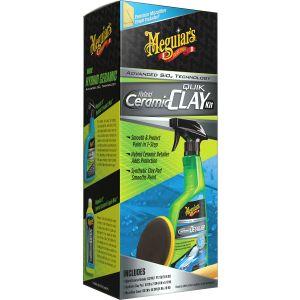 Meguiar's Hybrid Ceramic Synthetic Clay Kit | Lackreiniger Set aus Hybrid Ceramic Detailer, Reinigungsknete-Pad & Mikrofasertuch